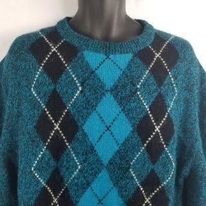 Vtg New Accents Argyle Acrylic Sweater XL Blue